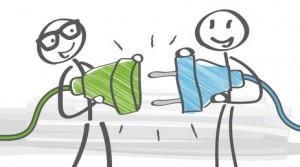 Steckdose und Stecker - Karrikatur